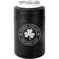 Finish This Cup For Good Luck St. Patrick's Day Can Koozie - Matte Black