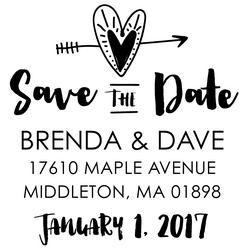 The Heart & Arrow Save the Date rubber stamp is a great and unique way to let everyone know about your special upcoming wedding date!