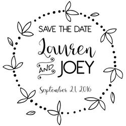 The Round Pedal Save the Date rubber stamp is a great and unique way to let everyone know about your special upcoming wedding date!