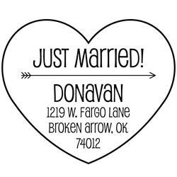 Heart Arrow Just Married Rubber Stamp