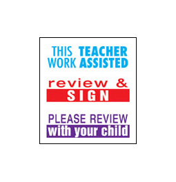 Xstamper #35206 3 Pack of Teacher Stamps.  Stamps include Work Assisted, Review & Sign and Please Review With Child.  Save by buying a 3-pack of Teacher Stamps!