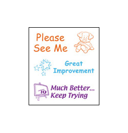 3 Pack of Teacher Stamps.  Stamps include Great Improvement, Much Better..Keep Trying and Please See Me.  Save by buying a 3-pack of Teacher Stamps!