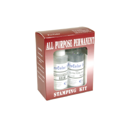 All Purpose Marking Ink Kit includes a bottle of ink, conditioner and a stamp pad.