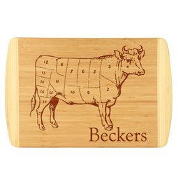 Unique and fun butcher's block custom cutting board.  Laser engraved for detail will leave a lasting impression.  Customize with last name.