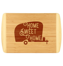 Fun bamboo cutting board for the camper in your life.  Unique and fun design that is laser engraved.