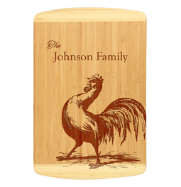 Custom rooster and family name bamboo cutting board.  Laser engraved cutting board with family names makes this a great and unique gift.