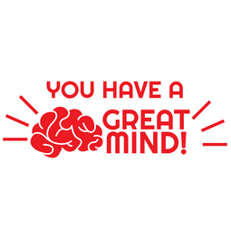 You have a great mind! self-inking teacher rubber stamp.  Encourages and motivates students.  Self-inking stamp comes with thousands of impressions.