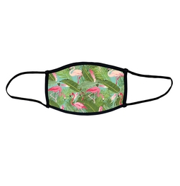 Flamingo face mask.  Masks come with elastic ear loops and fastener which allows a snug fit.