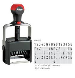 Shiny H-6416 is a 16-band numberer with numbers 0-9 and special symbols. Heavy duty stamp comes with thousands of initial impressions.