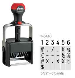 "The Shiny H-6446 is a 6-band numberer with 5/32"" tall characters.  This comes as a self-inking stamp with thousands of impressions."