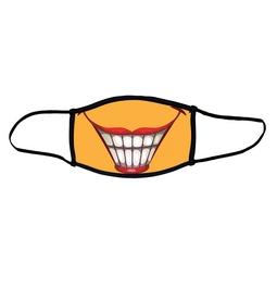 Large smile face mask.  Masks come with elastic ear loops and fastener which allows a snug fit.
