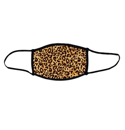 Leopard skin face mask.  Masks come with elastic ear loops and fastener which allows a snug fit.