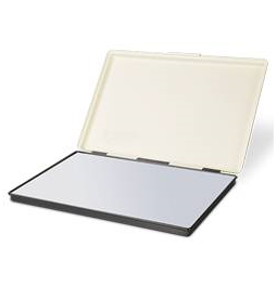 "Shiny MP-3F industrial rubber stamp pad is 7-7/8"" x 11-3/4"".  This pad comes dry and is made of high strength metal. Hinged metal cover will help conserve ink when not in use."