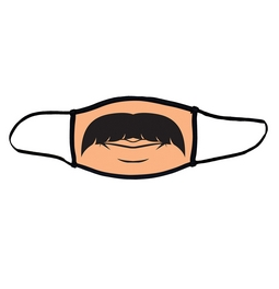 Mustache face mask.  Masks come with elastic ear loops and fastener which allows a snug fit.