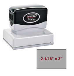 "The Premier Mark 225 is a medium large pre-inked stamp, impression size is 2-1/16"" x 3"", comes with thousands of impressions and the stamp is re-inkable."
