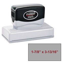 "The Premier Mark 275 is a medium large pre-inked stamp, impression size is 1-7/8"" x 3-7/8"", comes with thousands of impressions and the stamp is re-inkable."