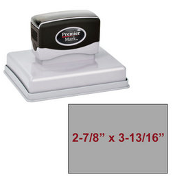 "The Premier Mark 700 is a extra large pre-inked stamp, impression size is 2-7/8"" x 3-13/16"", &  the stamp is re-inkable with oil based ink."