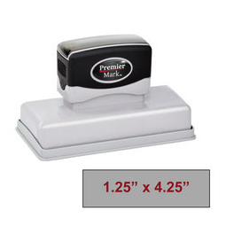 "The Premier Mark 720 is a large pre-inked stamp, impression size is 1-1/4"" x 4-1/4"", &  the stamp is re-inkable with oil based ink."