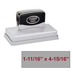 "The Premier Mark 750 is a extra large pre-inked stamp, impression size is 1-11/16"" x 4-15/16"", &  the stamp is re-inkable with oil based ink."