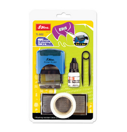 Shiny clothing marking kit is a do-it-yourself fabric marking kit. This is perfect to stamp on clothes or fabric.  Comes with special wash resistant ink.