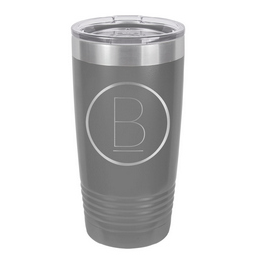 Our circle monogram tumbler will make your tumbler stand out in the crowd.  Customize with custom letter that is laser engraved.