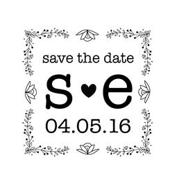 The Large Initial Save the Date rubber stamp is a great and unique way to let everyone know about your special upcoming wedding date!