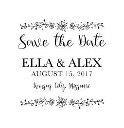 The Flower Ribbon Save the Date rubber stamp is a great and unique way to let everyone know about your special upcoming wedding date!