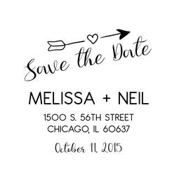 The Soaring Arrow Save the Date rubber stamp is a great and unique way to let everyone know about your special upcoming wedding date!