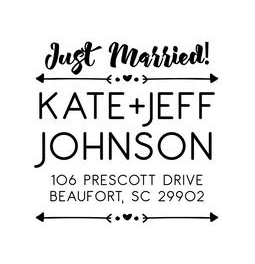 The Arrow Just Married rubber stamp for return address envelopes for wedding thank you cards