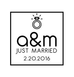 The Bling Ring Just Married rubber stamp is a great and unique way to let everyone know about your special upcoming wedding date!