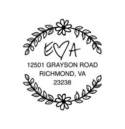 The Flower Wreath Just Married rubber stamp is a great and unique way to let everyone know about your special upcoming wedding date!