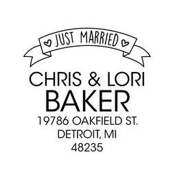 The Just Married Ribbon rubber stamp is a great and unique way to let everyone know about your special wedding date!