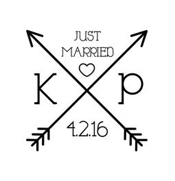The Cross Arrow Just Married rubber stamp is a great and unique way to let everyone know about your special upcoming wedding date!