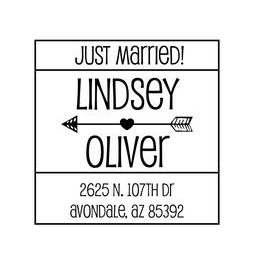 The Block Just Married rubber stamp- unique way to announce your recent wedding date! Choose between a self-inking stamp or a traditional rubber stamp.