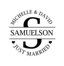 The Large Initial Just Married rubber stamp is a great and unique way to let everyone know about your special upcoming wedding date!