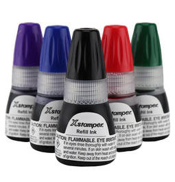 Xstamper refill ink.  Genuine Xstamper refill ink comes in 10ml, 20ml and 60ml sized bottles.  Choose from 7 ink colors.