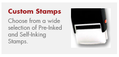 Custom Rubber Stamps, Return Address Stamps, Deposit Stamps, Signature Stamps, Xstamper Stamps, Inspection Stamps, Self-Inking Stamps, QR Code Stamps
