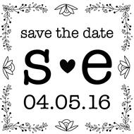 WD-0010 - Large Initial Save the Date Rubber Stamp