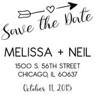 WD-0014 - Soaring Arrow Save the Date Rubber Stamp