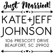 WD-0016 - Arrow Just Married Rubber Stamp
