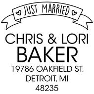 WD-0021 - Just Married Ribbon Rubber Stamp