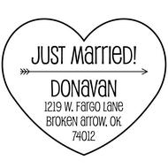 WD-0023 - Heart & Arrow Just Married Rubber Stamp