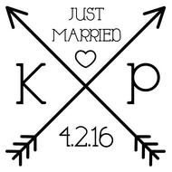 WD-0024 - Cross Arrow Just Married Rubber Stamp