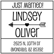 WD-0025 - Block Just Married Rubber Stamp