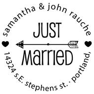 WD-0026 - Round Just Married Rubber Stamp
