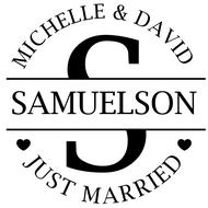 WD-0027 - Large Initial Just Married Rubber Stamp
