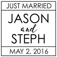 WD-0030 - Even Squared Just Married Rubber Stamp