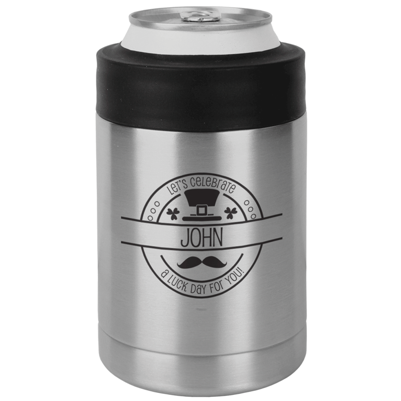 CELEBRATESSCAN - Let's Celebrate St. Patrick's Day Koozie - Custom Name on Koozie - Stainless Steel