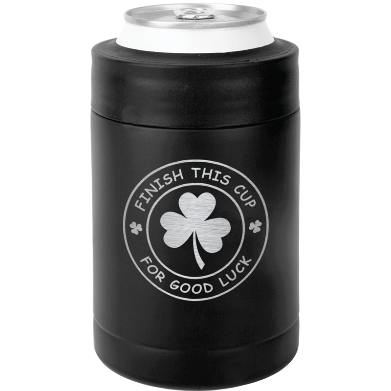 FINISHCUPMATTECAN - Finish This Cup For Good Luck St. Patrick's Day Can Koozie - Matte Black
