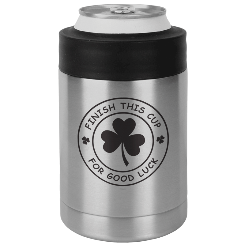 FINISHCUPSSCAN - Finish This Cup For Good Luck St. Patrick's Day Beverage Can Koozie - Stainless Steel